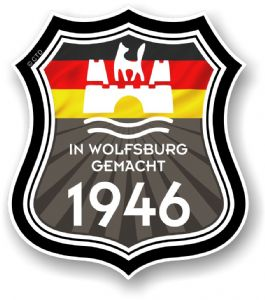 In Wolfsburg Gemacht 1946 Shield Motif Fits All VW External Vinyl Car Sticker 105x120mm